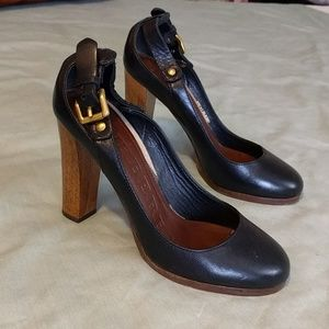 "Burberry Shoes - Black Leather Burberry 4"" Heels"